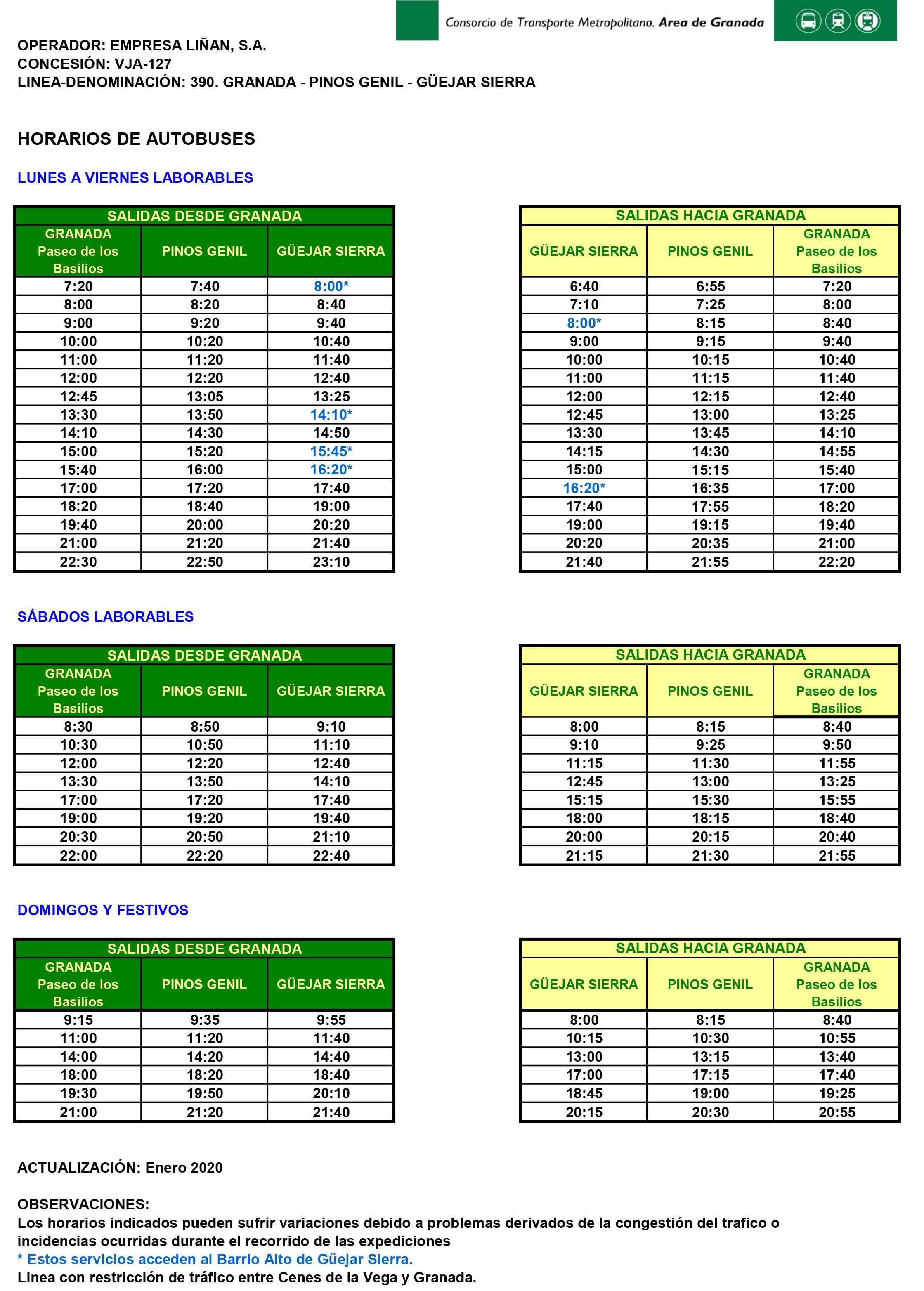 Horario autobuses enero 2020
